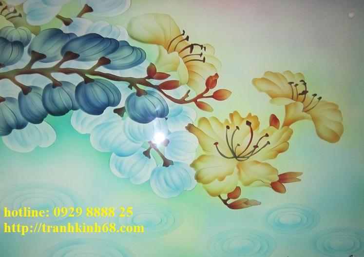 Kính phun cát hoa văn màu